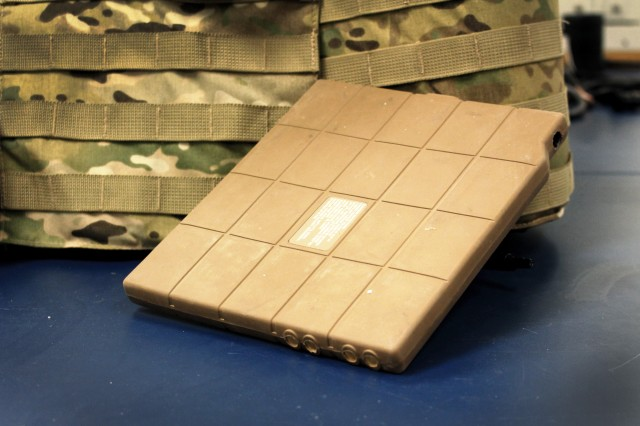 CERDEC's Conformal Wearable Battery is a thin, lightweight, flexible battery that integrates seamlessly into a Soldier's body armor. It conforms to the body and can be worn in either the side or chest/back pouches with the ballistic protective plates, virtually invisible and transparent to the Soldier. The battery currently powers equipment for missions lasting up to 24 hours.