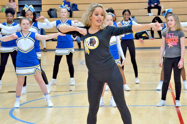 Wiesbaden military community youths are treated to a free Cheerleading Clinic, courtesy of the Washing Redskins Cheerleaders.