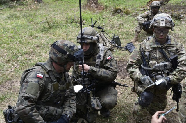 2nd Cavalry Regiment Troopers conduct joint land operations with Polish Soldiers during Saber Junction 17 at the Hohenfels Training Area, Germany in May. Feedback on prototypes, including electronic warfare capabilities, fielded to the 2nd Cavalry Regiment will help quickly drive improvements.