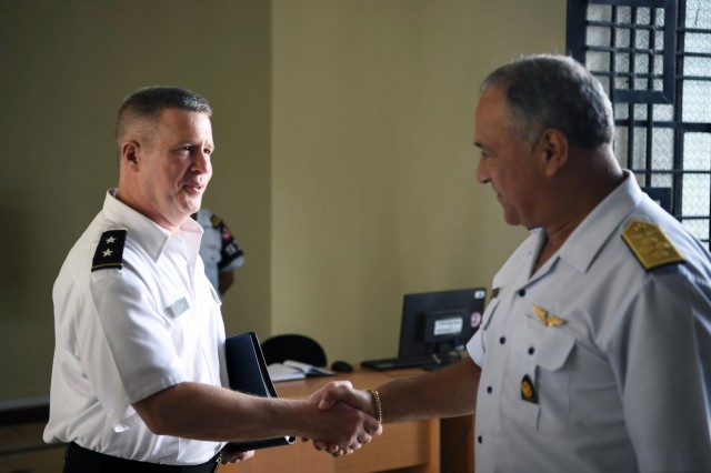 U.S. Army Maj. Gen. James A. Hoyer, the Adjutant General of the West Virginia National Guard, shakes hands with Gen. Javier Enrique Ramirez Guillen, Peruvian Air Force Commanding General, Jan. 31, 2018 following a key leader meeting held in Lima, Peru. The WVNG and Peruvian leaders discussed future endeavors and opportunities for engagement as a part of the National Guard Bureau State Partnership Program.