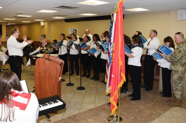 The Detroit Arsenal Unit Ministry Team Choir sang two musical selections during the 2018 annual National Prayer Breakfast observance on February 1, 2018 at the Detroit Arsenal.