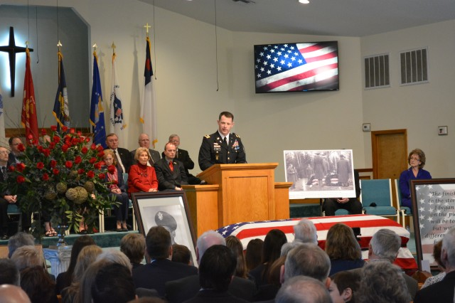 Army Chaplain Maj. Doug Nab, 1st Aviation Brigade, U.S. Army Aviation Center of Excellence, eulogizes the life and service of World War II bombardier and  Lt. Ewart Sconiers at a repatriation service in Defuniak Springs, Fla. Jan. 27. Ewart's interment in his hometown marked 74 years to the day he was first interred in Poland after being taken as a Prisoner of War.