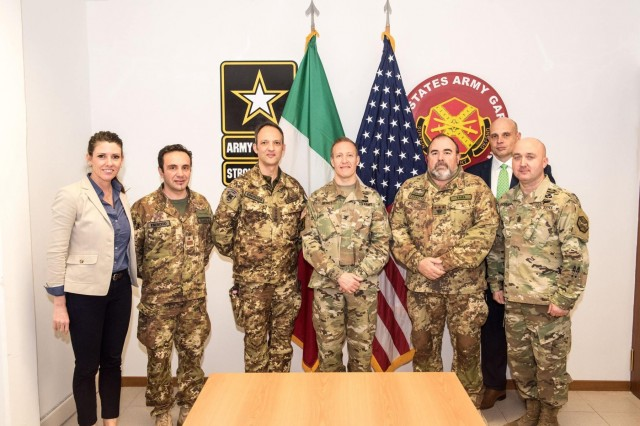 Force protection of U.S. Army garrisons in Italy was the focus of the first Senior Leaders Forum here, Jan 30-31. Leaders pose for a group photo in the USAG Italy Vicenza conference room.  Left to right:  Camp Darby Community Manager Catherine Miller, Italian Base Sgt Major Antonio Quaglia, Vicenza Italian Base Commander Umberto D Andria, USAG Italy Garrison Commander Col. Erik Berdy, Camp Darby Italian Base Commander Renato Vaira, USAG Italy Deputy Garrison Commander Frank Lands, and USAG Italy Sgt. Major Mason Bryant.