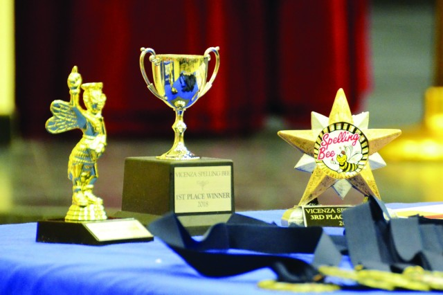 Trophies for the 2018 spelling bee