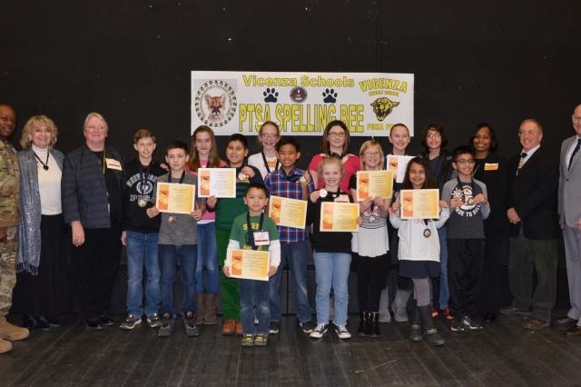 Vicenza Parent Teacher Student Association Championship Spelling Bee participants, judges, and principals.