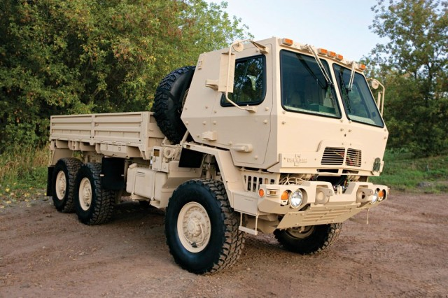 For decades, the Family of Medium Tactical Vehicles has formed the backbone of the Army's local, line haul, and unit resupply missions in combat, combat support, and combat service support units.  These trucks, consisting of 15 variants sharing a common chassis and components, play an important role as the prime mover for several weapon, sensor, and communication platforms.  Keeping the fleet current with the latest technology is essential ensuring Active, Reserve, and National Guard Soldiers remain ready to meet new challenges and mission demands at home and abroad.