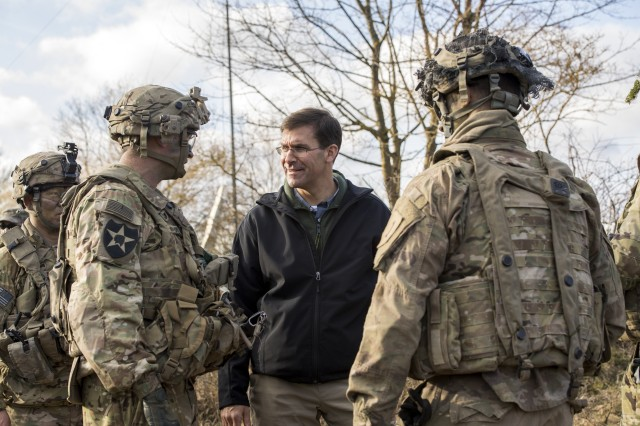 U.S. Army Secretary Dr. Mark T. Esper, center, meets with U.S. Soldiers participating in Exercise Allied Spirit VIII in Europe, January 30, 2018. During a recent roundtable with MSO/VSO organizations at the Pentagon on Feb. 6, Secretary Esper provided more details about the Army's efforts to reduce the number of non-deployable Soldiers and PCS moves.