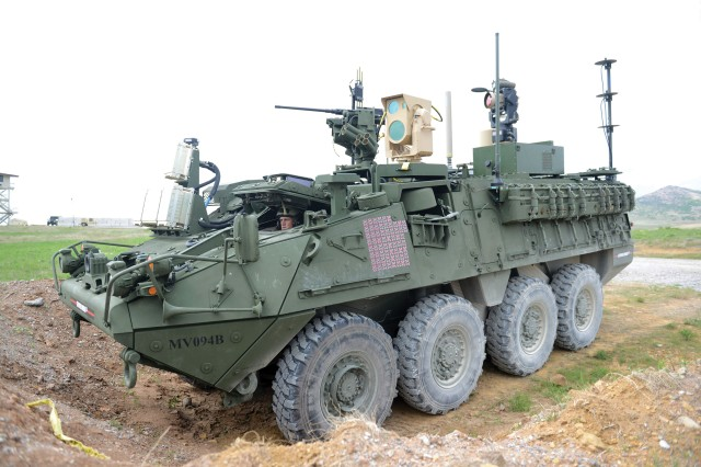 A MEHEL-equipped Stryker shot small fixed- and rotary-wing UAS out of the sky using a 5-kW fiber laser in April during MFIX-17 at Fort Sill, a first for the Army.