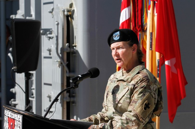 Maj. Gen. Susan A. Davidson, commanding general of the 8th Theater Sustainment Command, speaks during a blessing ceremony for the Logistics Support Vessel-3 Gen. Brehon B. Somervell February 6 at Joint Base Pearl Harbor-Hickam. The ceremony not only welcomed the LSV-3 Somervell to its new home at JBPH-H, but also changed its watch back to the mission and requirements of the active Army as part of the 8th Special Troops Battalion, 8th TSC. Prior to joining the fleet of the 8th TSC, the LSV-3 Somervell spent the majority of its Army career under the control of the U.S. Army Reserve. (U.S. Army photo by Sgt. 1st Class Michael Behlin)