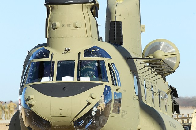 A new CH-47 MY2 Chinook from 2nd General Support Aviation Battalion, 1st Aviation Regiment, 1st Combat Aviation Brigade, 1st Infantry Division, prepares to liftoff from Marshall Army Airfield on Fort Riley, Kansas, Jan. 25. The new Chinooks will allow the aircraft to be more readily available to the ground force commander while also saving the Army money on maintenance costs. (Chad L. Simon, 1st Inf. Div. Public Affairs)