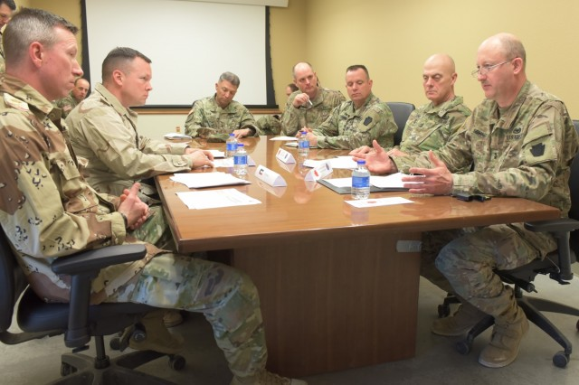 Maj. Gen. Andrew Schafer Jr. (right) and Command Sgt. Maj. John Jones (second from right), command team of the Pennsylvania Army National Guard's 28th Infantry Division, participate in a simulated key leader engagement with role-played Kuwait military leaders during the 28th ID's culminating training exercise with First Army at Fort Hood, Texas, Jan. 31, 2018. About 500 28th ID Soldiers will be headquartered in Kuwait during their upcoming nine-month deployment.