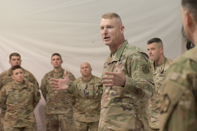 "Maj. Gen. Terrence McKenrick, U.S. Army Central deputy commanding general, talks to Soldiers of the Massachusetts Army National Guard's 151st Regional Support Group Jan. 30, 2018, at Fort Hood, Texas, where they are participating in a culminating training exercise with First Army for the Pennsylvania Army National Guard's 28th Infantry Division. Both units are preparing to deploy to the Middle East, where the 151st RSG Soldiers will augment the ARCENT staff, and the 28th ID Soldiers will support theater combat operations, Operation Spartan Shield, and theater security cooperation with the United States' 17 partner nations in the region. ""Underlying all that is readiness,"" McKenrick said. ""We're trying to build readiness, whether for contingency operations in the region or to redeploy units at a higher state of readiness."""