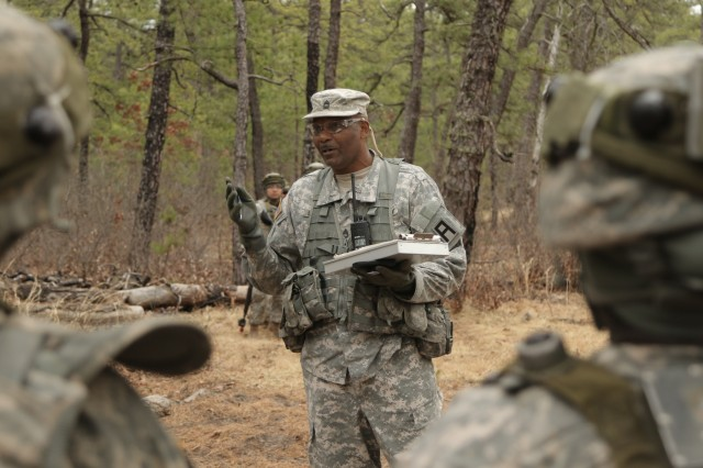 First Army observer coach/trainers from the 4th Cavalry Brigade prepare to start a partnership mission with Army Reserve Soldiers during Warrior Exercise 78-17-01 at Joint Base McGuire-Dix-Lakehurst, N.J., March 25, 2017. (Photo Credit: Staff Sgt. Ian M. Kummer)