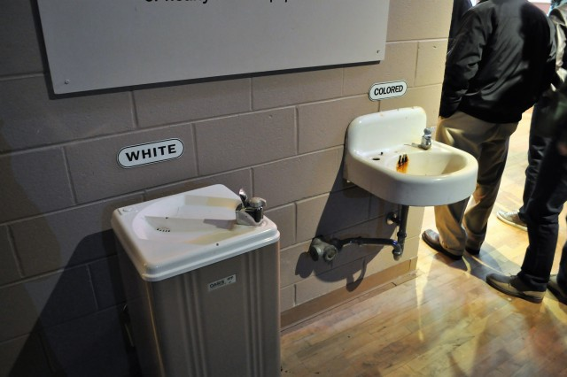 Segregated water fountains stand at the beginning of the Birmingham, Alabama, Civil Rights Institute museum tour.