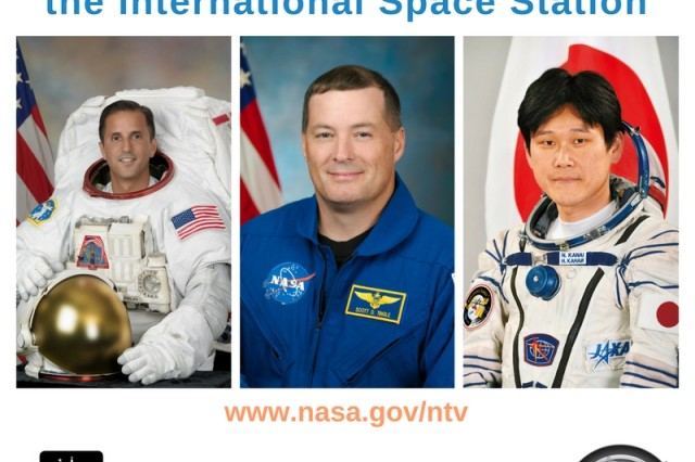 Students from Framingham State University recently had the chance to speak via Skype to astronauts aboard the International Space Station, including NASA astronauts, Joseph Acaba (left) and Scott Tingle (center) and Norishige Kanai (right) from the Japan Aerospace Exploration Agency. The event was hosted by the Christa Corrigan McAuliffe Center for Integrated Science Learning at FSU, in collaboration with the Challenger Center's National Office.