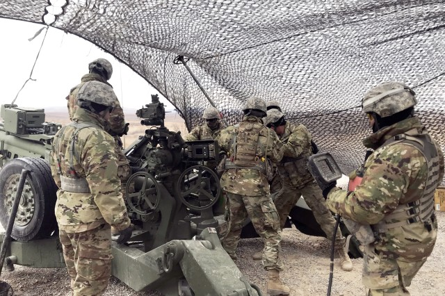 Soldiers of C Battery, 1st Battalion, 78th Field Artillery demonstrate firing the M777A2 Howitzer, during a visit by Under Secretary of the Army Ryan McCarthy, Feb. 6, 2018, at Fort Sill, Okla.