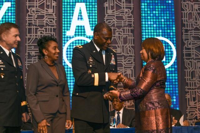 Commanding General of RDECOM Maj. Gen. Cedric T. Wins received the BEYA Stars & Stripes award Feb. 9, 2018.