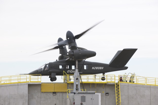 Bell Helicopter's Air Vehicle Concept Demonstrator aircraft was flown for the first time by an Army pilot Feb. 7. During the flight, the pilot performed Hover In Ground Effect repositioning, pattern flight, and roll-on landings.