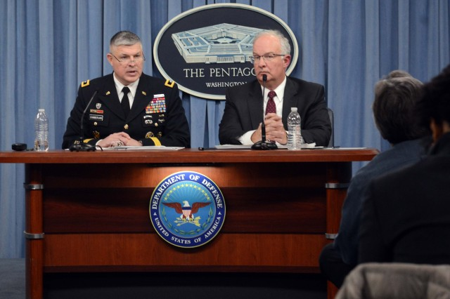 Maj. Gen. Paul A. Chamberlain, director of the Army budget, and Davis S. Welch, deputy director of the Army budget, discussed the Army's Fiscal Year 2019 budget request during a Feb. 12, 2018 briefing at the Pentagon.