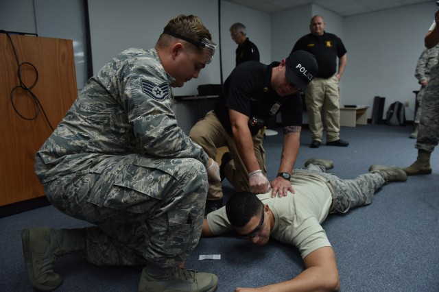 U.S. Air Force Airman 1st Class David Lovell-Pieper-Victorino, 154th Security Forces Squadron, Hawaii Air National Guard, participates in taser exposure as one component of the PATRIOT South training exercises, Gulfport, Miss., Feb. 10, 2018. PATRIOT is a domestic operations training exercise sponsored by the National Guard that focuses on increasing the understanding of coordination, policies and procedures required in conducting a Joint Inter-Agency domestic response.