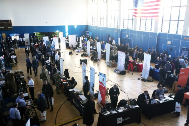 A view of exhibitors and atendees at the U.S. Army Garrison Wiesbaden Tech Expo, Feb. 13, 2018 in the Tony Bass Gym on Clay Kaserne in Wiesbaden, Germany.