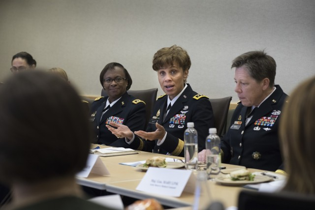 Lt. Gen. Nadja West, Army surgeon general and commander of U.S. Army Medical Command, answers questions about her Army life before a panel of fellow peer general officers and several congressional staff delegates during the Women Leadership Roundtable Discussion hosted at the Pentagon, Feb. 7. Top U.S. military generals met with congressional delegates to discuss their life perspectives as military women and the importance of having access to every talented American who can add strength to the force.