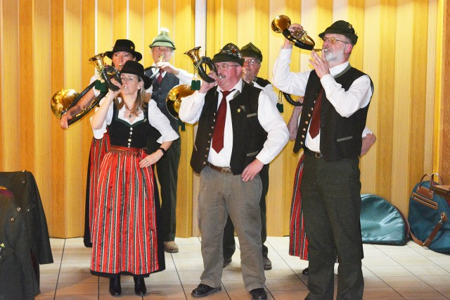 ANSBACH, Germany -- In a time-honored centuries old traditional ceremony conducted on  January 26, 2018 at the Gasthaus Rose, Flachslanden, members from the U.S. Army Garrison Ansbach community were welcomed and initiated into the fraternity of German hunters. To the musical accompaniment provided by the Jagdhornbläser-Jägervereinigung Ansbach (The Hornblowers-Hunters Association of Ansbach), seven American citizens were newly christened as 'Jungjäger' -- knighted into the German Hunters brotherhood. Photos courtesy of Robert Goodenow for U.S. Army Garrison Ansbach Public Affairs (RELEASED).