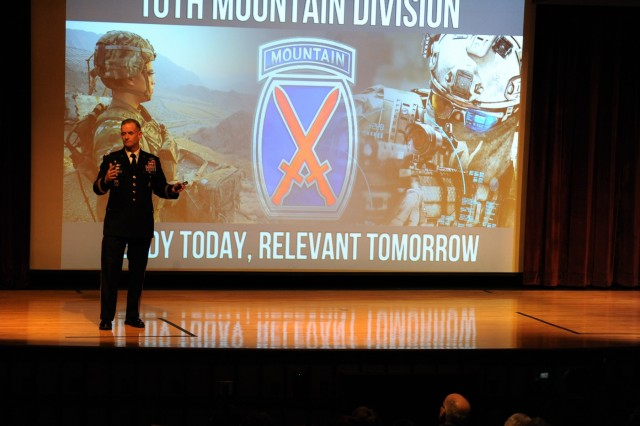"Maj. Gen. Walter E. Piatt, 10th Mountain Division (LI) and Fort Drum commander, informs community members Feb. 9 at Jefferson Community College about the ""Ready Today, Relevant Tomorrow"" campaign, to include deployments, training exercises and the ongoing fight against ISIS in Iraq."