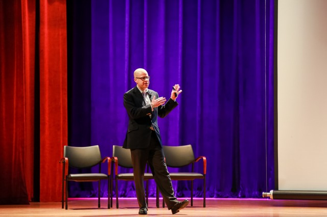 FORT BENNING, Ga. (Feb. 14, 2018) -- Historian Max Boot delivers a presentation at Fort Benning to students of the Maneuver Center of Excellence Feb. 6 in Marshall Auditorium. The subject of the presentation was Edward Lansdale, an Air Force officer who worked for the CIA during the 1950s and 1960s, about whom Boot had recently authored a book. (U.S. Army photo by Suhyoon Wood, Maneuver Center of Excellence, Fort Benning Public Affairs)