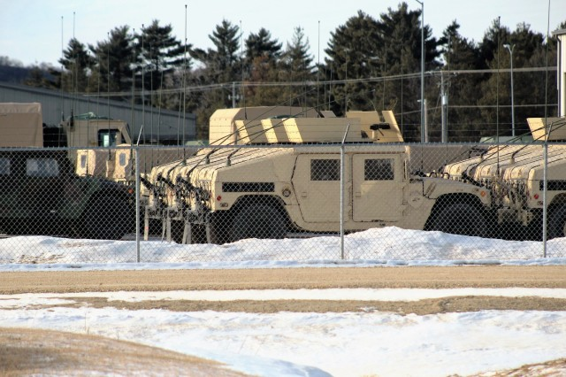 Military equipment to be used for the Army Reserve's Operation Cold Steel II is shown at a staging area at Fort McCoy, Wis., on Feb. 2, 2018. Operation Cold Steel II is the Army Reserve's crew-served weapons qualification and validation exercise to ensure America's Army Reserve units and Soldiers are trained and ready to deploy on short-notice as part of Ready Force X and bring combat-ready and lethal firepower in support of the Army and our joint partners anywhere in the world. The exercise takes place at Fort McCoy from February to May 2018. (U.S. Army Reserve photo by Scott T. Sturkol, Public Affairs Office, Fort McCoy, Wis.)