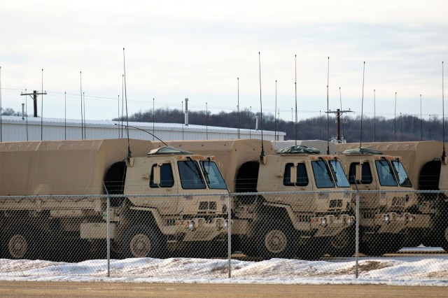 Military equipment to be used for the Army Reserve's Operation Cold Steel II is shown at a staging area at Fort McCoy, Wis., on Feb. 2, 2018. Operation Cold Steel II is the Army Reserve's crew-served weapons qualification and validation exercise to ensure America's Army Reserve units and Soldiers are trained and ready to deploy on short-notice as part of Ready Force X and bring combat-ready and lethal firepower in support of the Army and our joint partners anywhere in the world. (U.S. Army Reserve photo by Scott T. Sturkol, Public Affairs Office, Fort McCoy, Wis.)