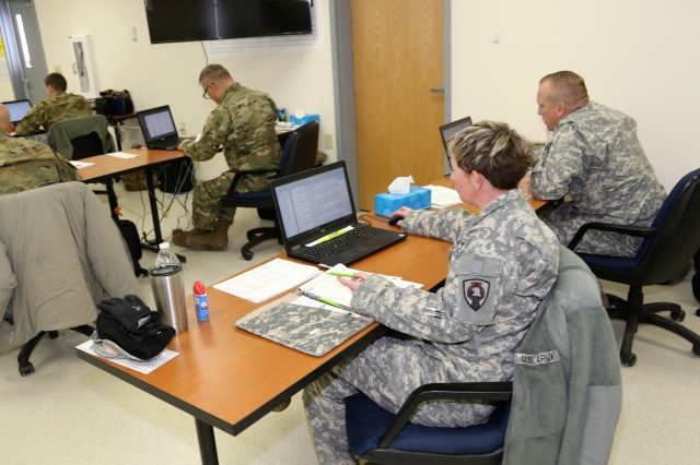 Students complete a project in the 89B Senior Leader Course, a course taught by the 13th Battalion, 100th Regiment, on Jan. 16, 2018, at Fort McCoy, Wis. The 13th, 100th is an ordnance battalion that provides training and training support to Soldiers in the ordnance maintenance military occupational specialty series. The unit, aligned under the 3rd Brigade, 94th Division of the 80th Training Command, has been at Fort McCoy since about 1995. (U.S. Army Photo by Scott T. Sturkol, Public Affairs Office, Fort McCoy, Wis.)