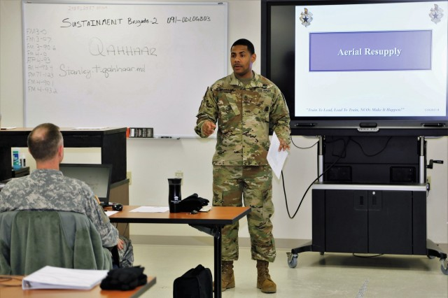 Master Sgt. Stanley Qahhaar, 89B Senior Leader Course instructor with the 13th Battalion, 100th Regiment, holds a class session Jan. 16, 2018, at Fort McCoy, Wis. The 13th, 100th is an ordnance battalion that provides training and training support to Soldiers in the ordnance maintenance military occupational specialty (MOS) series. The unit, aligned under the 3rd Brigade, 94th Division of the 80th Training Command, has been at Fort McCoy since about 1995. (U.S. Army Photo by Scott T. Sturkol, Public Affairs Office, Fort McCoy, Wis.)