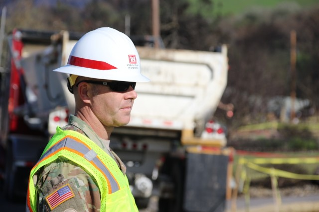 Col. Eric M. McFadden, commander Sonoma Recovery Field Office, surveys the fire-related debris removal work being completed in the Santa Rosa area of Sonoma County, California.