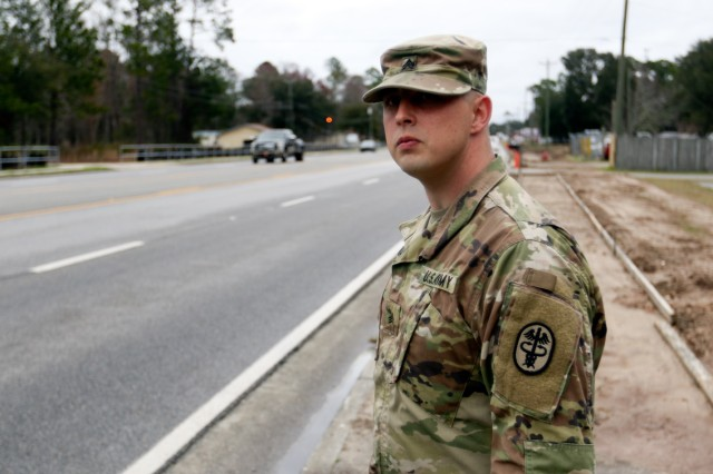 U.S. Army Medical Department Activity-Fort Stewart Chaplain Assistant, Sgt. Dustin Napier, went above and beyond the call of duty when he provided support and directed traffic during a recent two automobile accident, Feb. 9.
