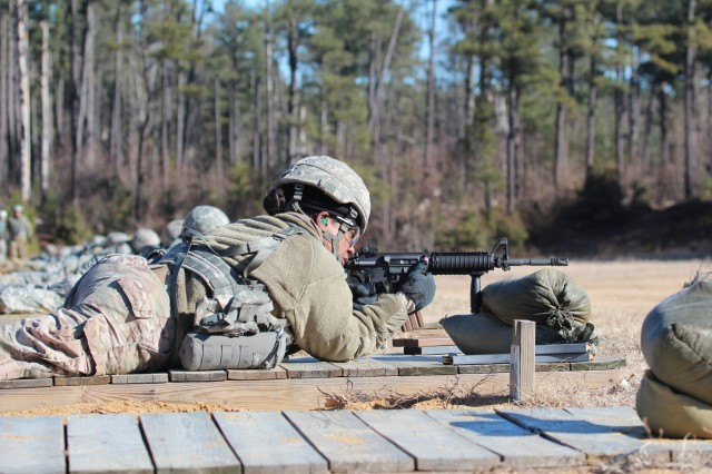 Master Sgt. Laverna McDonald, battalion operations non-commissioned officer in charge, with the 55th Special Troops Battalion, 55th Sustainment Brigade, headquartered at the John Singleton Mosby Reserve Center, near Fort Belvoir, Va., fires her M-4 rifle at her weapon zeroing target, at Fort A.P. Hill, Va., Feb. 2, 2018. The 55th Sus. Bde. Was at Fort A.P. Hill conducting a four-day battle assembly during, which they completed a field training exercise named Operation Heinz, and successfully executed individual weapon and crew serve weapons qualification events (U.S. Army Photo by Sgt. 1st Class Ruben Rodriguez).
