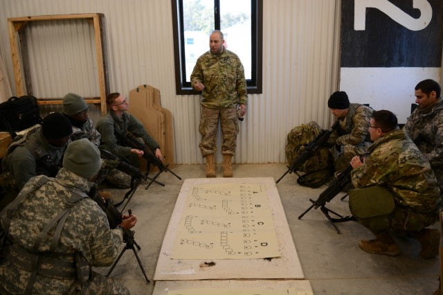 Sgt. Joseph Anthony Ruelas, the armorer for the 55th Sustainment Brigade, headquartered at the John Singleton Mosby Reserve Center, near Fort Belvoir, Va., provides crew serve weapons familiarization and safety briefing to gunners preparing to zero and qualify at Fort A.P. Hill, Va., Feb. 2, 2018 (U.S. Army Photo by Staff Sgt. Luis Delgadillo).