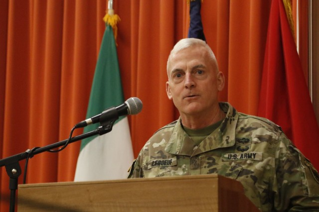 U.S. Army Africa Acting Commanding General Brig. Gen. Eugene LeBoeuf addresses attendees of the USARAF senior leader strategy session Feb. 1, 2018, at the Golden Lion conference center on Caserma Ederle in Vicenza, Italy. The session focused on utilizing the reserve component for security cooperation events and exercises in Africa to increase reserve operational readiness and accomplish USARAF's mission of setting the theater.