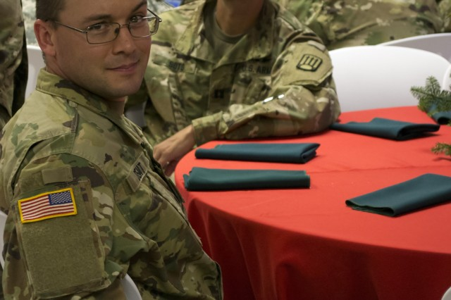Maj. Kevin Dent attends an awards dinner during Joint Task Force Puerto Rico where he served as the command judge advocate with the New Mexico Army National Guard.