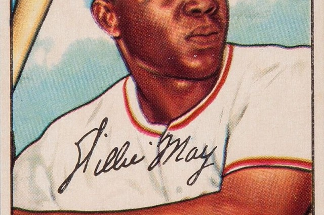 Willie Mays 1952 baseball chewing gum collector's card.