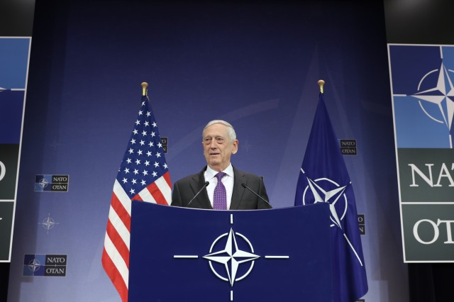 Secretary of Defense James N. Mattis answers questions during a press conference. NATO Headquarters Brussels, Belgium. Feb. 15, 2018.
