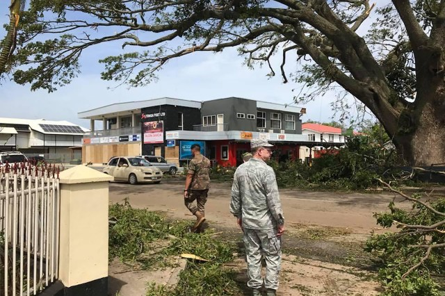 Brig. Gen. William Burks, the adjutant general for Nevada, surveys the destruction in Tonga following Tropical Cyclone Gita on Feb. 12, 2018. Burks was in the island nation participating in a State Partnership Program exchange when the worst cyclone to hit Tonga's main islands in 60 years struck.