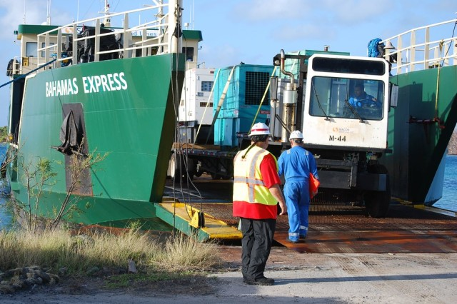 The U.S. Army Corps of Engineers (USACE) Task Force Virgin Islands had been mission assigned by the Federal Emergency Management Agency (FEMA) to provide temporary power to critical public facilities such as: schools, police stations, fire stations, waste water treatment plants, water pump stations and hospitals. USACE temporary power utilized FEMA assigned generators to provide connectivity to these essential services following two major hurricanes, Irma and Maria. USACE temporary power mission has returned some generators back to FEMA for deinstalls, operation and maintenance. Approximately 180 temporary emergency generators were installed by USACE across the Virgin Islands. The deliver of the vessel, Bahama Express on February 8, 2018 marked the final barge operations to return generators back to FEMA's staging areas.