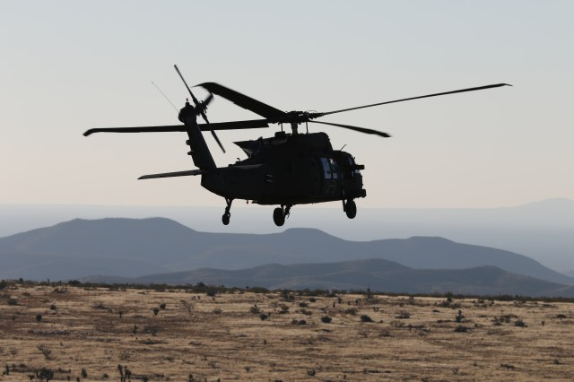 UH-60 Blackhawk helicopter crews from 3rd Battalion, 501st Aviation Regiment, Combat Aviation Brigade, 1st Armored Division completed aerial gunnery at Fort Bliss, Texas, December 12, 2017, maintaining their combat readiness and M240 machine gun skills. Army Vice Chief of Staff Gen. James C. McConville noted that this type of training is valuable for increasing readiness against a peer threat.