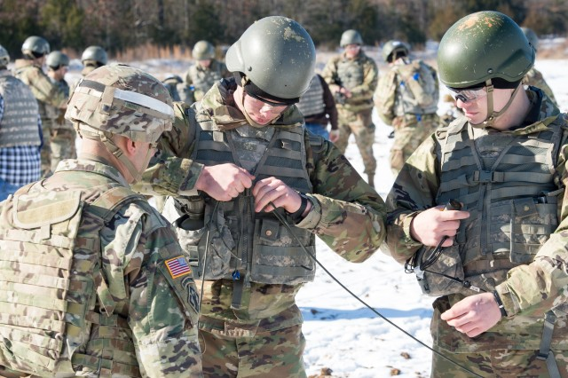 Combat engineers assemble a series of explosives during demolitions training   Jan. 18, 2018 at Fort Leonard Wood, Missouri. Combat engineers learn to be proficient at building bridges and roads, laying or clearing minefields, conducting demolitions, and constructing or repairing airfields.