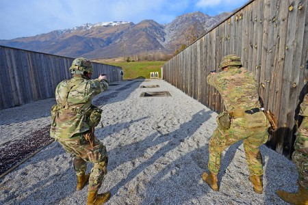 Paratroopers assigned to the 173rd Airborne Brigade engages targets with M9 pistols during weapons qualification at Cao Malnisio Range, Pordenone, Italy, Jan. 17, 2018. The 173rd Airborne Brigade is the U.S. Army Contingency Response Force in Europe, capable of projecting ready forces anywhere in the U.S. European, Africa or Central Commands' areas of responsibility.