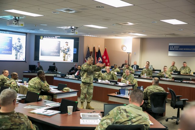 Army Materiel Command's Gen. Gus Perna addresses senior leaders from across the materiel enterprise during the AMC Commander's Forum at Redstone Arsenal, Ala., Feb. 7-8.