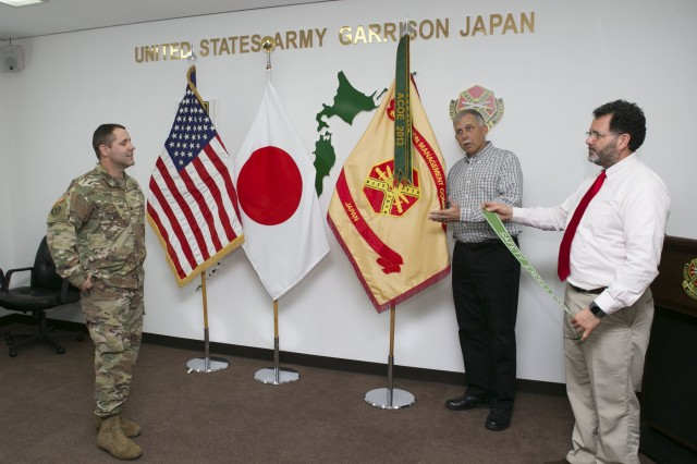 The presentation of the Safety Excellence Award Streamer during the Commander's Update Briefing is the latest example of the safety culture mindset at US Army Garrison Japan (USAG Japan). (Courtesy of US Army Japan's Safety Office)