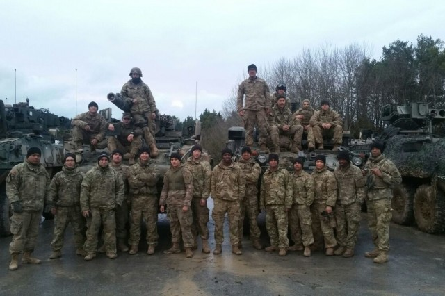 "5th Platoon, Quickstrike Troop, 4th Squadron, 2d Cavalry Regiment was presented with the ""Hero of Hohenfels"" award, which was awarded to the most lethal platoon at Allied Spirit VIII, a training exercise involving approximately 4,100 participants from 10 nations, Jan. 15 - Feb. 5, 2018. In addition to defeating over 50 simulated enemy vehicles and personnel, the platoon achieved the longest shot in the rotation by defeating an Opposing Forces' vehicle from 3,200 meters away."