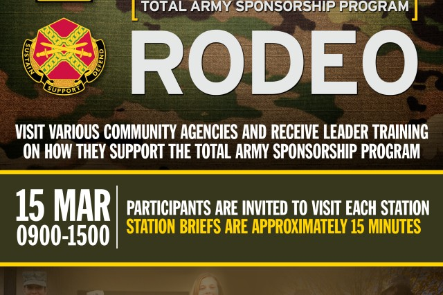 The Army program designed to aid leaders and sponsors during the relocation of their personnel will be held at U.S. Army Garrison Bavaria March 15. USAG Bavaria's Directorate of Human Resources conducts the Total Army Sponsorship Program Rodeo, or TASP Rodeo, March 15, 2018, beginning at 9 a.m. at the Rose Barracks Multi-Purpose Complex, Bldg. 143, in Vilseck.